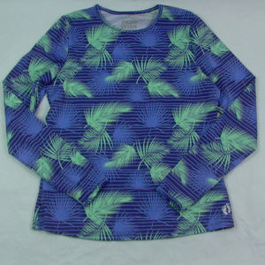 Hang Ten Rash Guard Sun Shirt Tee Blue Palm Medium